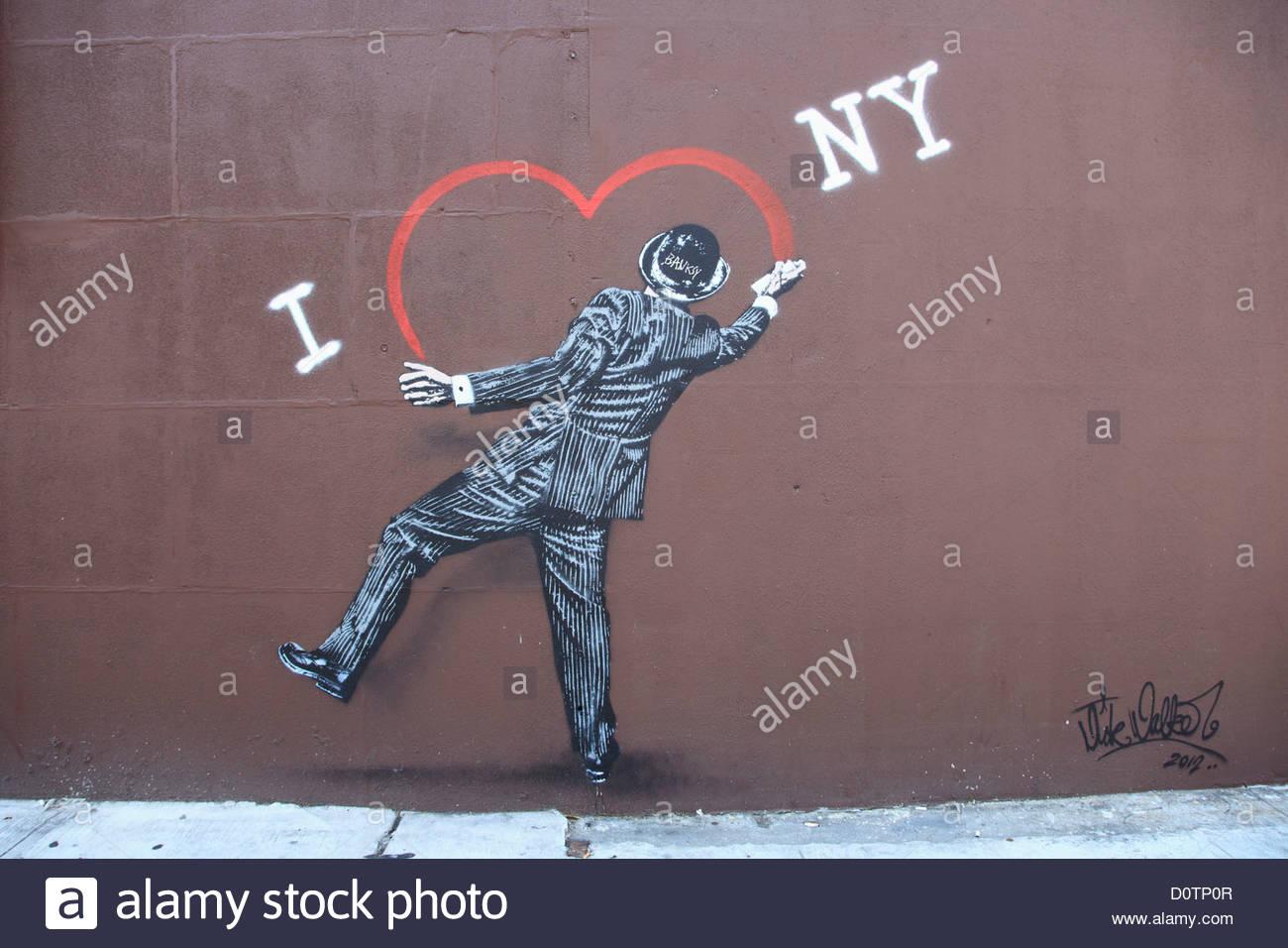 Street Art, Banksy Tribute, Lower East Side, Manhattan, New York City, USA Stock Foto