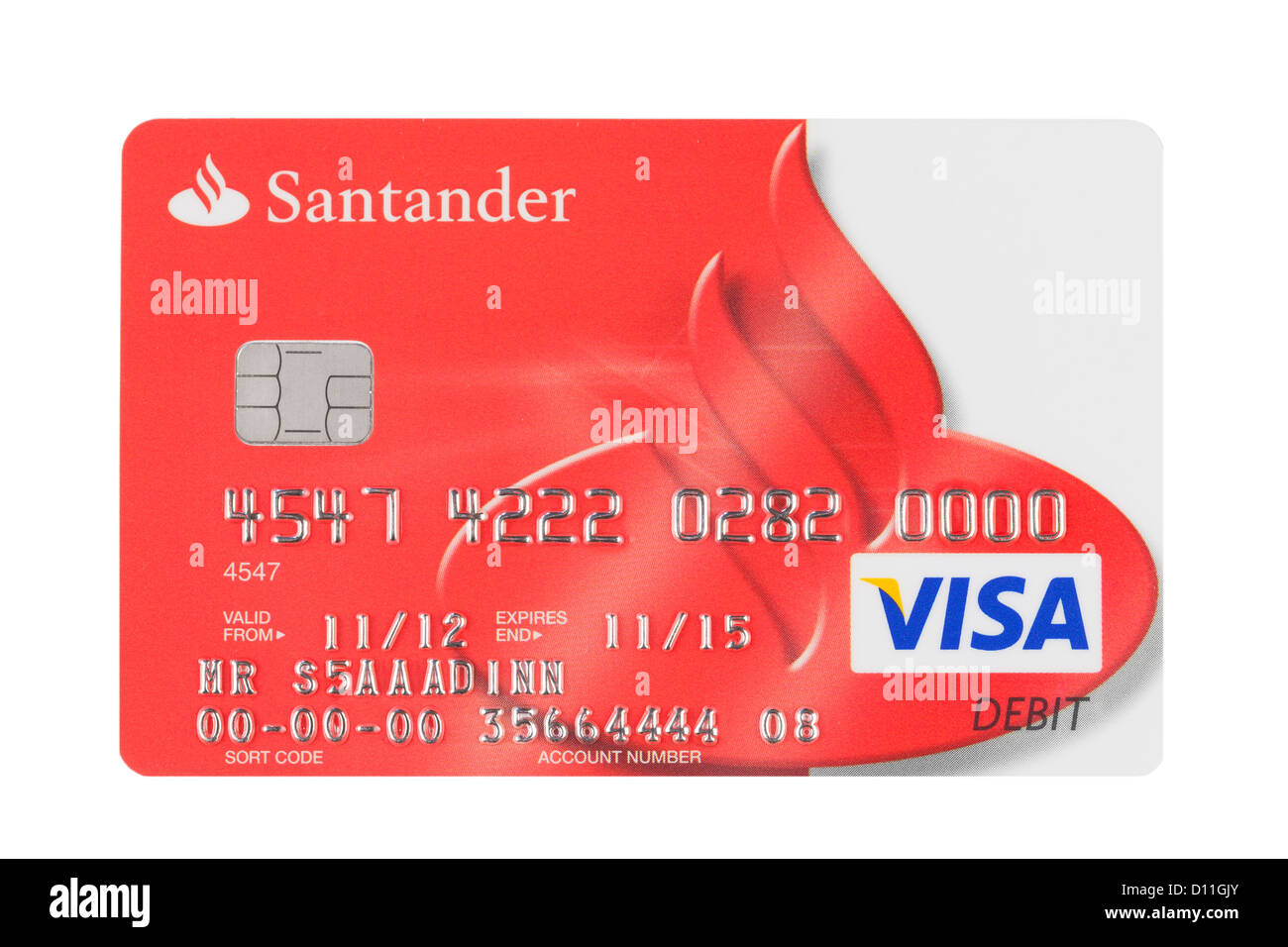 Santander bank branding logo payment card stock photo - Cad santander ...