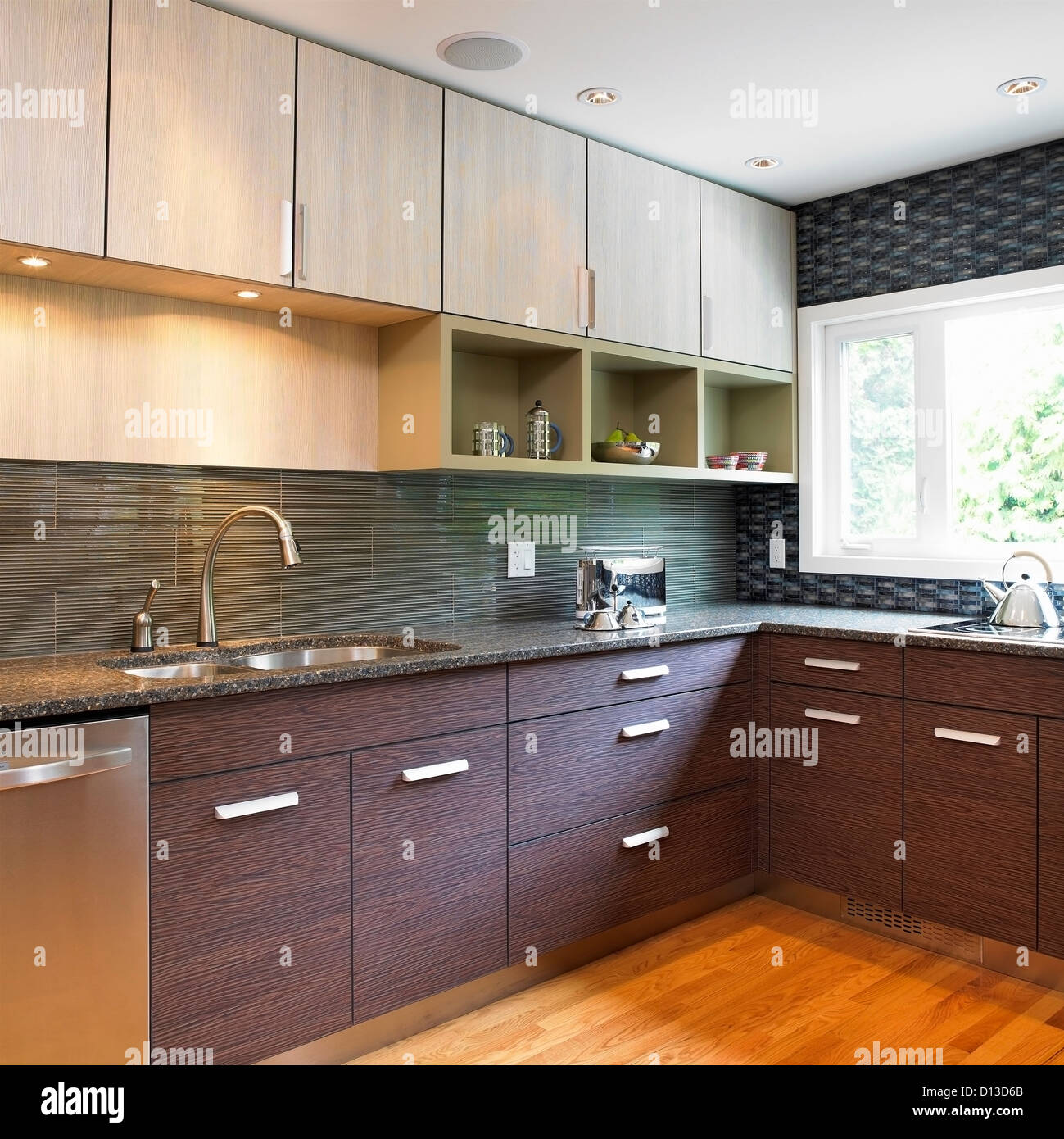 Kitchen with blue tile backsplash and wood laminate for Kitchen ideas canada