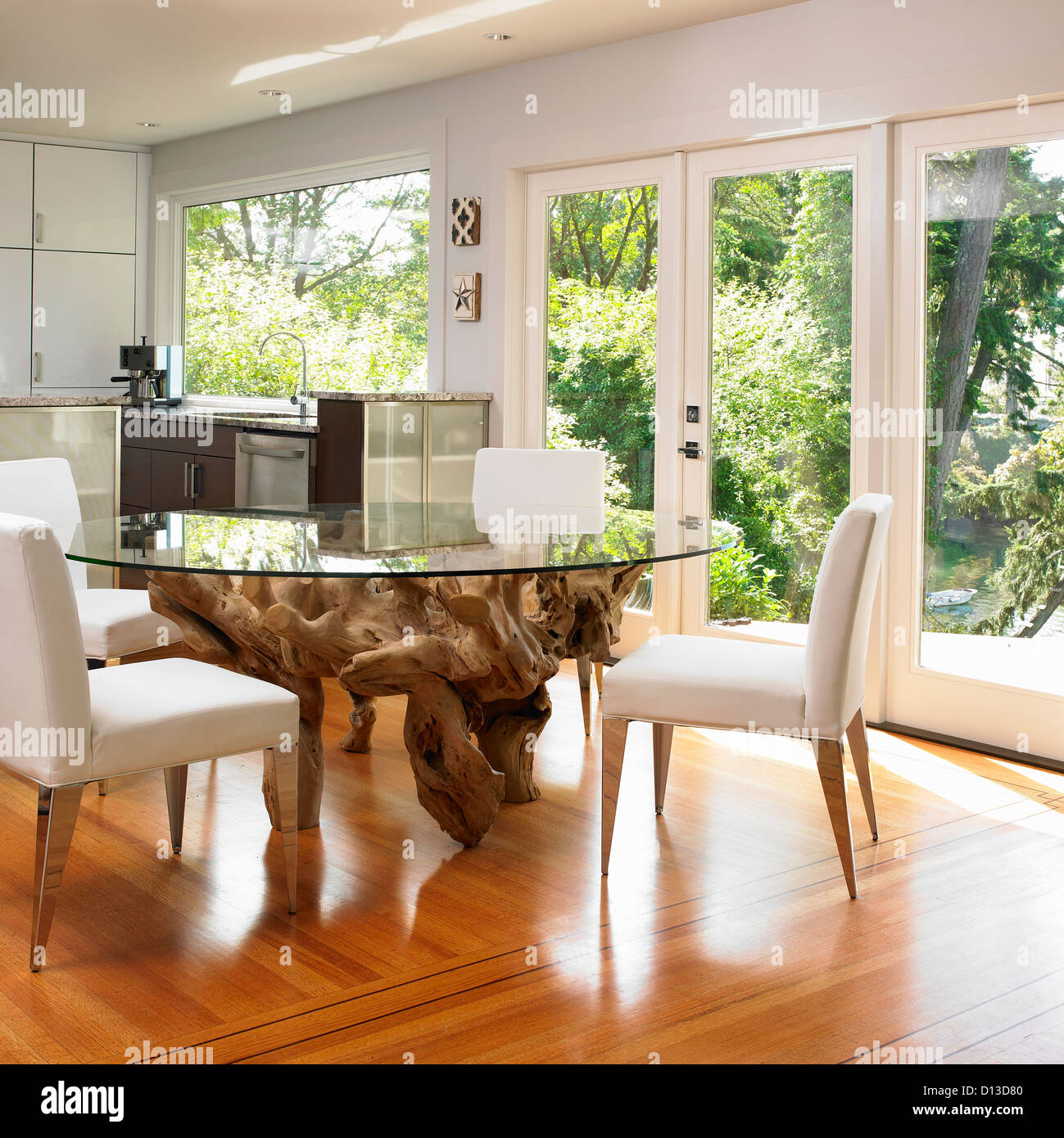Glass topped dining table with large tree root base for Dining room tables vancouver bc
