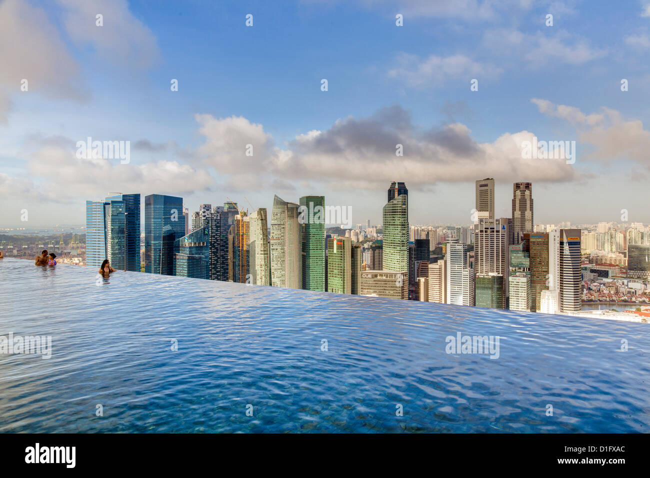 Sands skypark infinity swimming pool on the 57th floor of marina bay stock photo royalty free - Marina bay sands resort singapore swimming pool ...