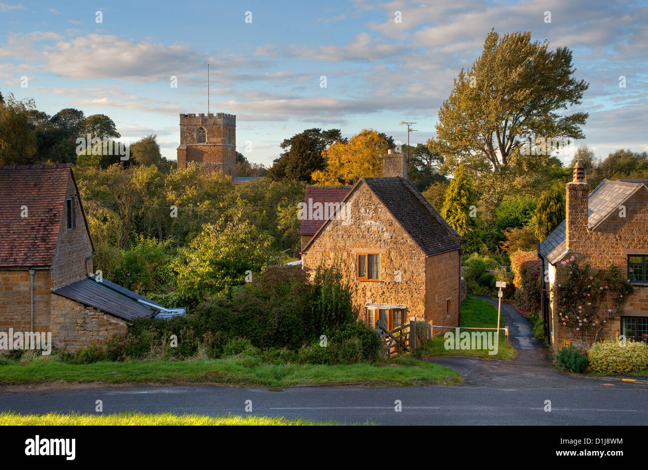 Cotswold village at sunset, Ilmington, Warwickshire, England Stock Photo