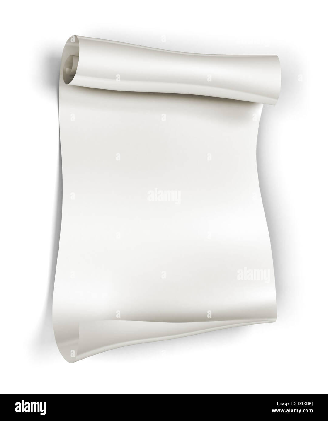 3d Scroll Of Parchment Photo: Paper Scroll On White Background, 3d Rendering Stock Photo