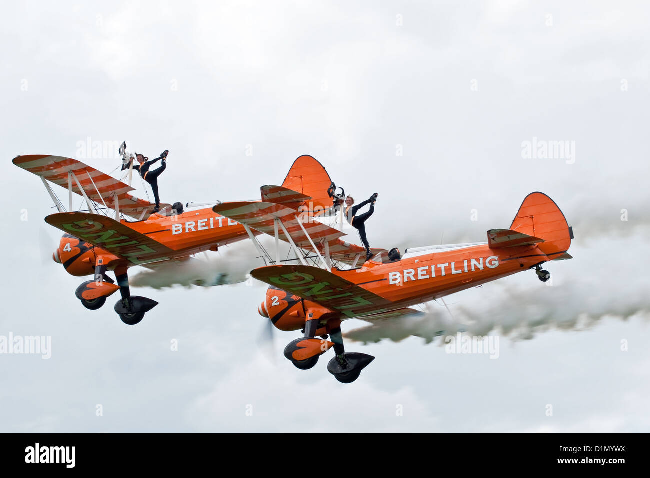 The Breiting Team wing-walkers pose for the crowd at the Sywell Air Show Stock Photo