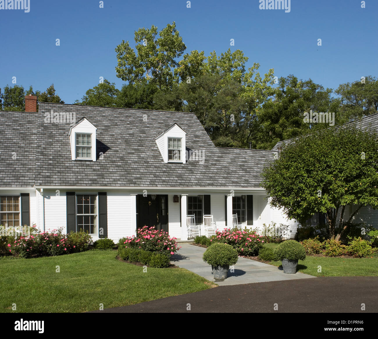 Front Porch Of Yellow House Stock Photo: Exteriors White Traditional Home With Black Shutters Front