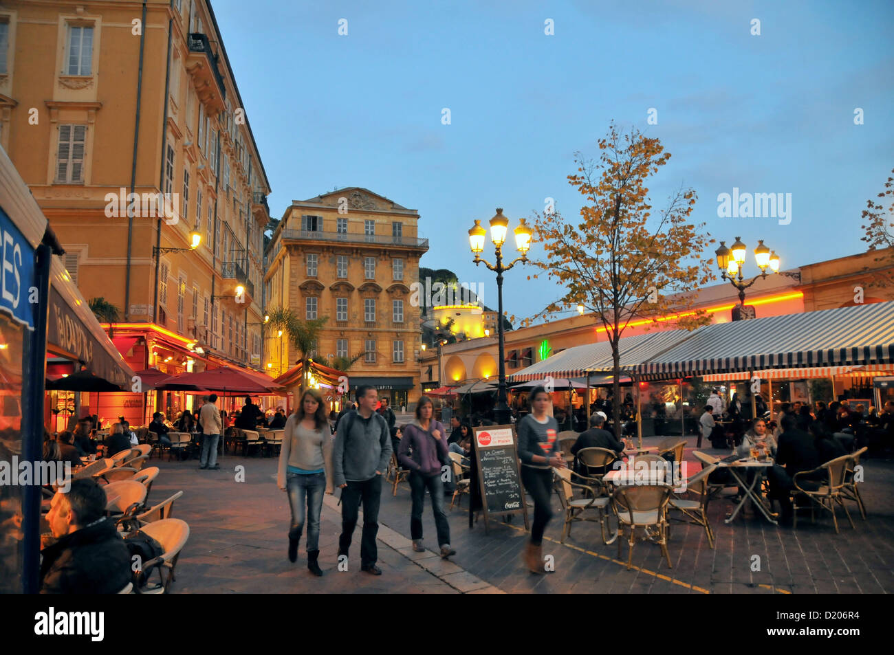 people at the cours saleya at the old town in the evening nice cote stock photo royalty free. Black Bedroom Furniture Sets. Home Design Ideas