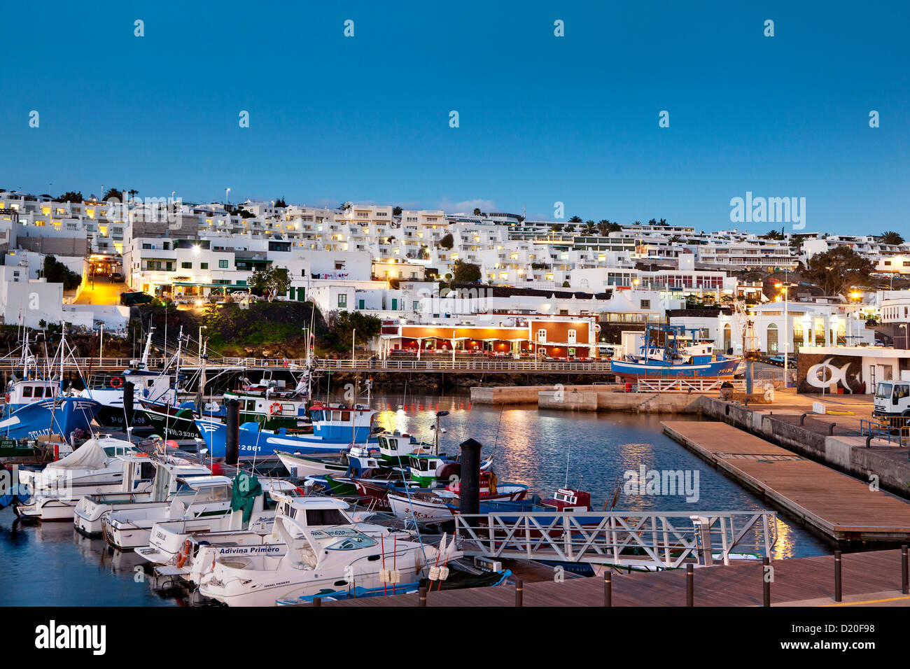 Illuminated harbour in the evening puerto del carmen lanzarote stock photo royalty free image - Port del carmen lanzarote ...