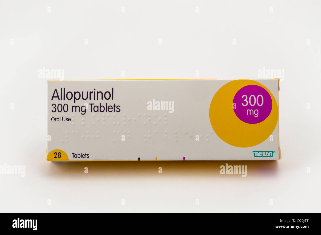 A packet of Allopurinol, a drug used in the treatment of