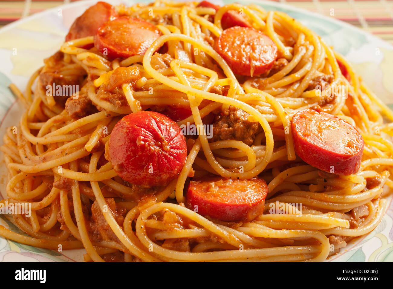 Spaghetti Noodle Hot Dogs