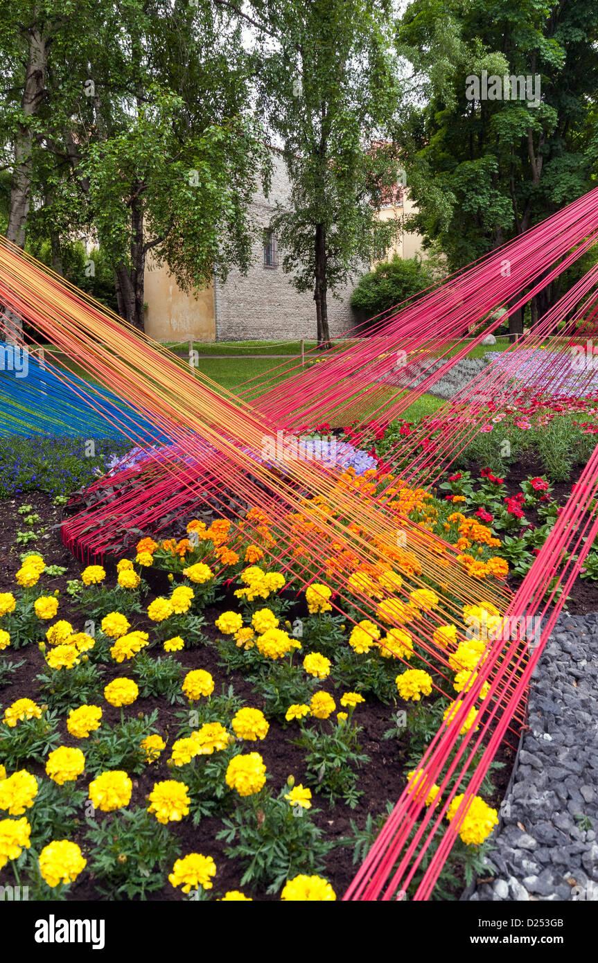 Colourful Line Pattern Garden Design At The Tallinn Flower