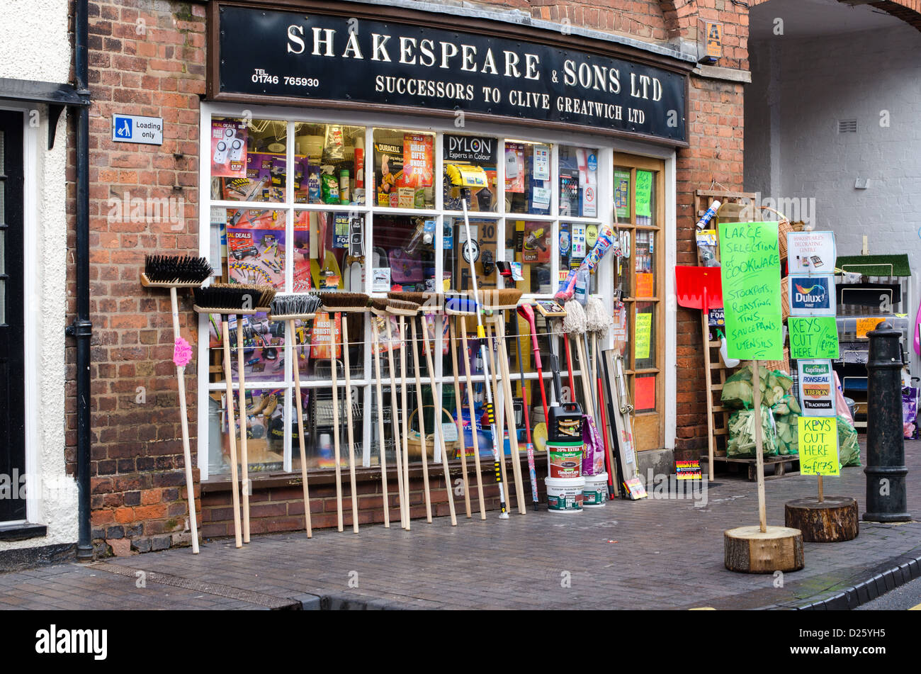 shakespeare sons traditional hardware store in bridgnorth stock photo royalty free image. Black Bedroom Furniture Sets. Home Design Ideas