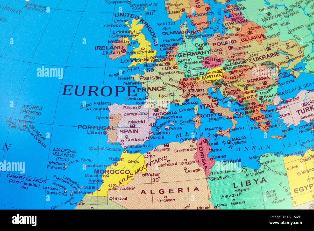 A Map Of Europe And North Africa On A Globe Stock Photo