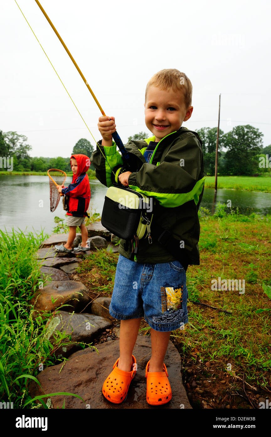 Young boys fishing in northeast pa stock photo royalty for Free fishing day 2017 pa