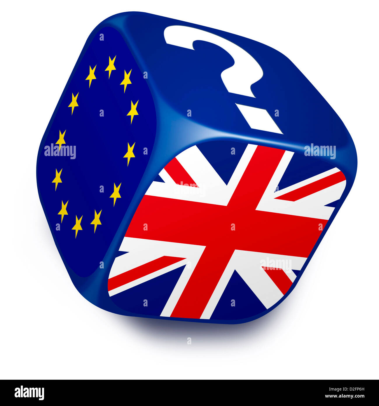 Dice with European Union Flag, UK flag and a question mark on its sides - Europe referendum vote choice concept Stock Photo