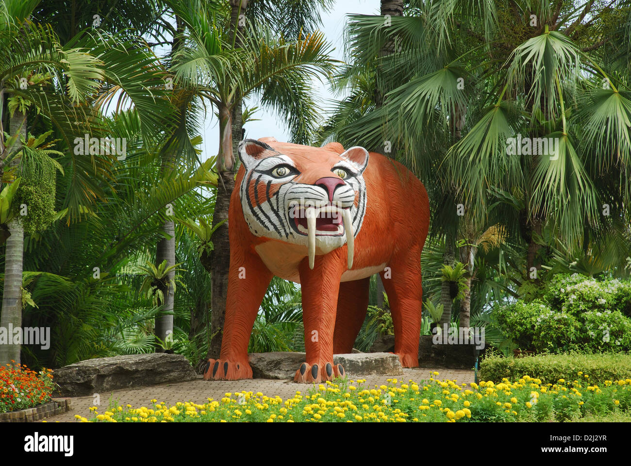 View Of A Tiger Statue, Butterfly Hill, Nong Nooch Village, Pattaya Stock Pho...