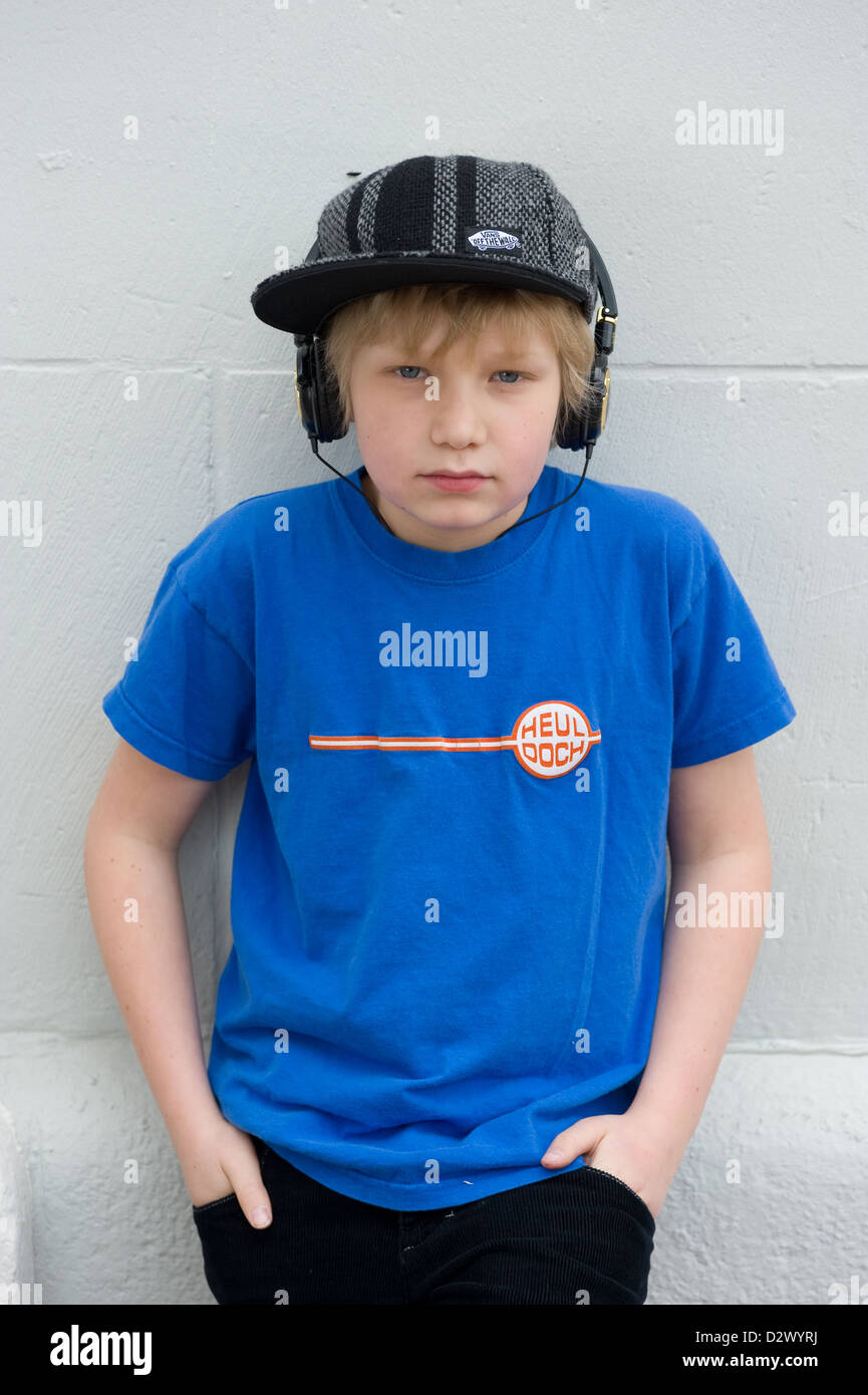 Freiburg, Germany, Cool 11 Year Old Boy Stock Photo