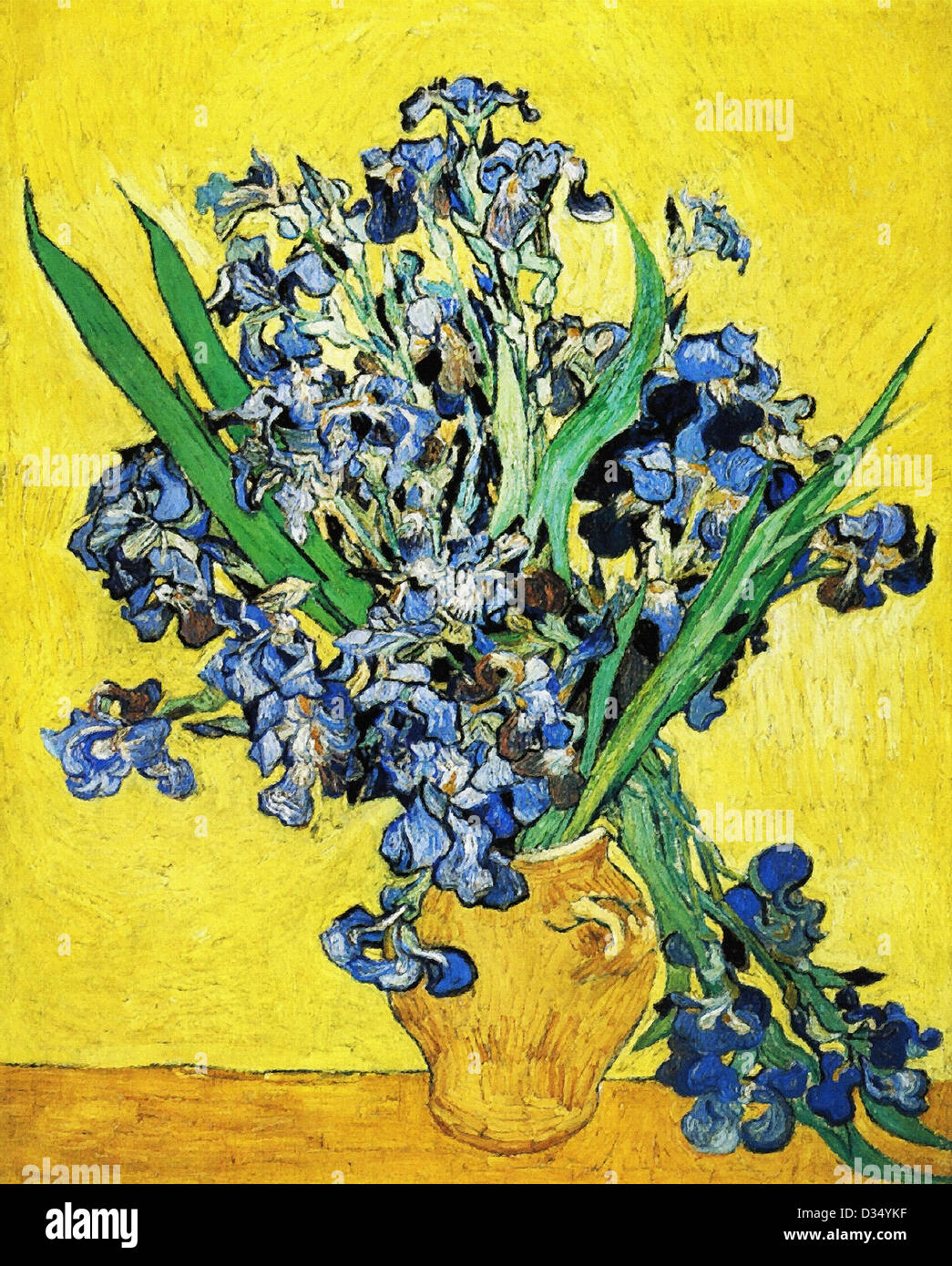 vincent van gogh still life with irises 1890 post impressionism stock photo royalty free. Black Bedroom Furniture Sets. Home Design Ideas