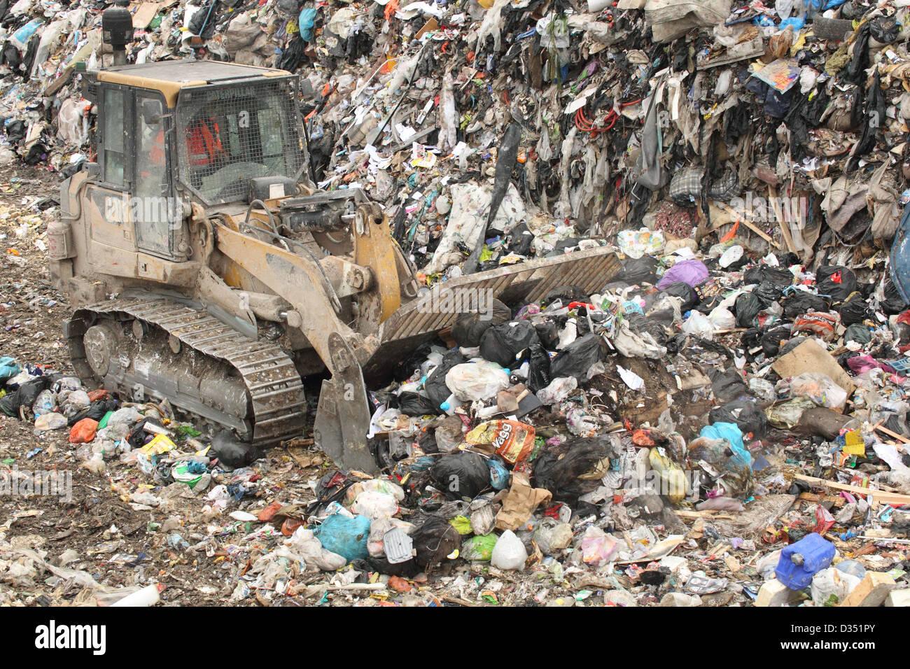 bulldozer-on-landfill-site-dorset-uk-feb