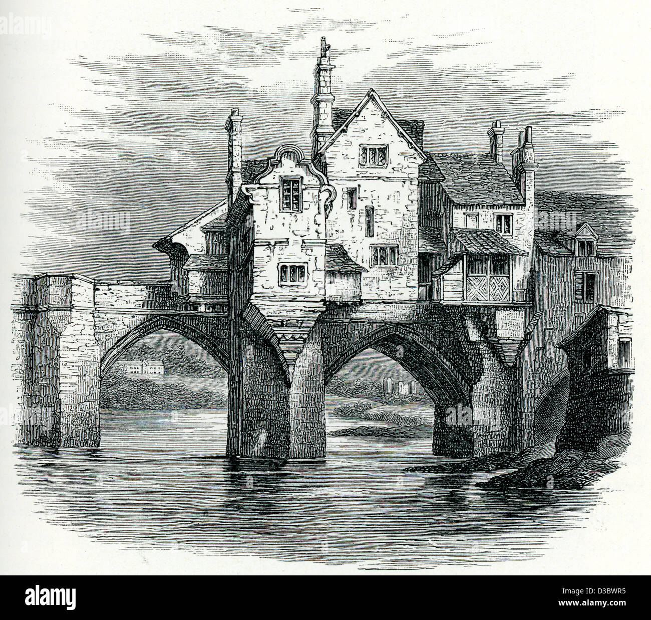 Vintage engraving of Elvet Bridge, a medieval masonry arch bridge across the River Wear, in the city of Durham, Stock Photo