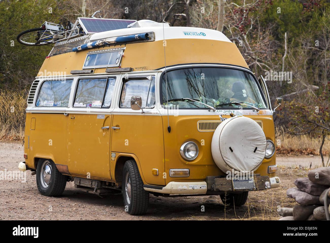 Classic Volkswagen Campervan With Solar Panel On The Roof
