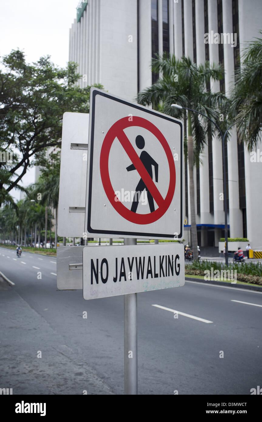 no jaywalking sign makati manila stock photo royalty free