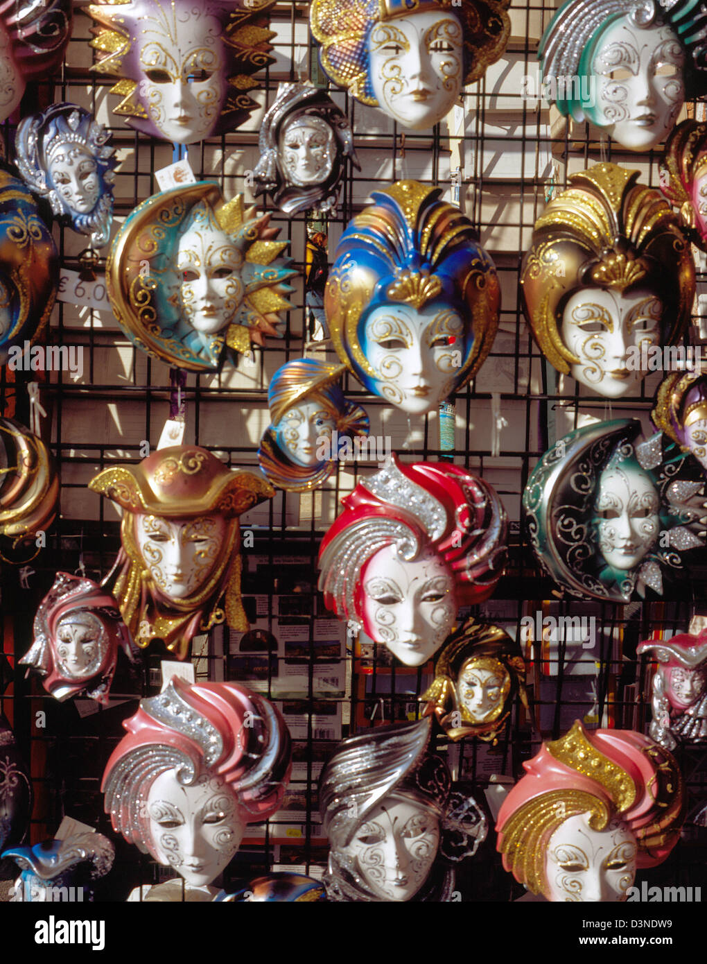 Typical Venetian carnival masks are on sale in Venice, Italy, February 2005. Photo: Willy Matheisl Stock Photo