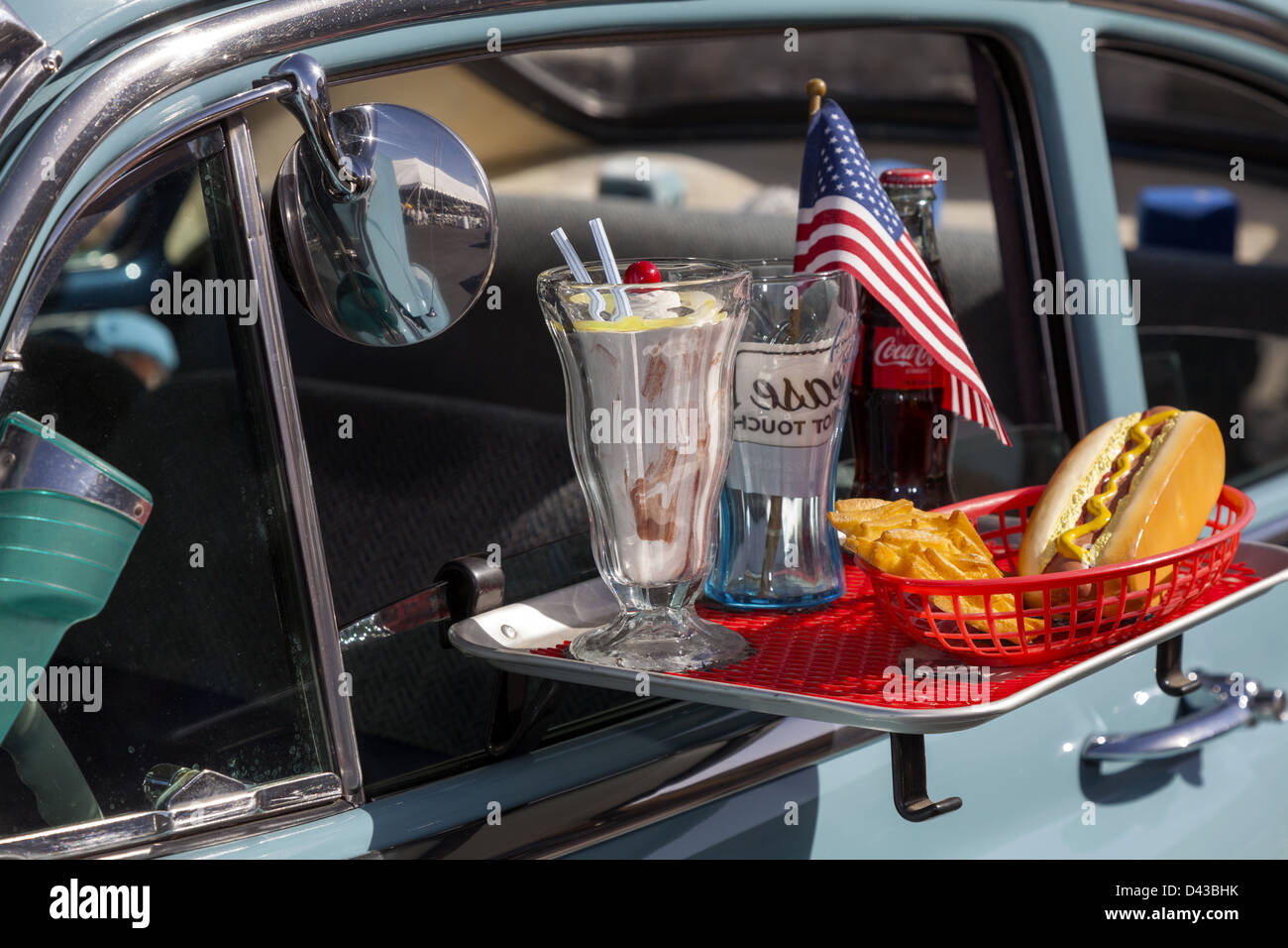Car Hop Tray Hung On The Window Of A Classic Car Closeup
