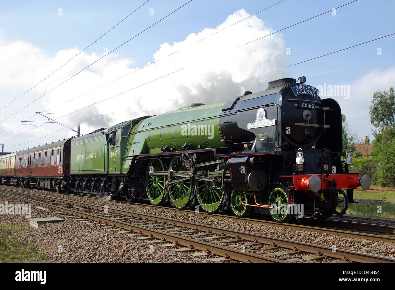 60163 Tornado is a mainline steam locomotive built in Darlington, England. Completed in 2008 it often runs on UK Stock Photo