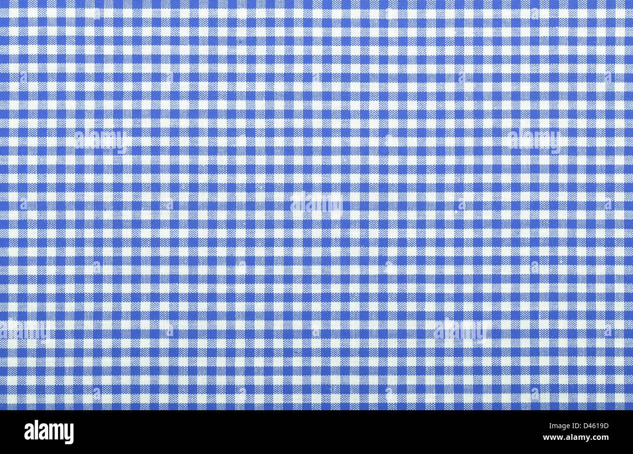 blue checkered fabric closeup , tablecloth texture Stock ...