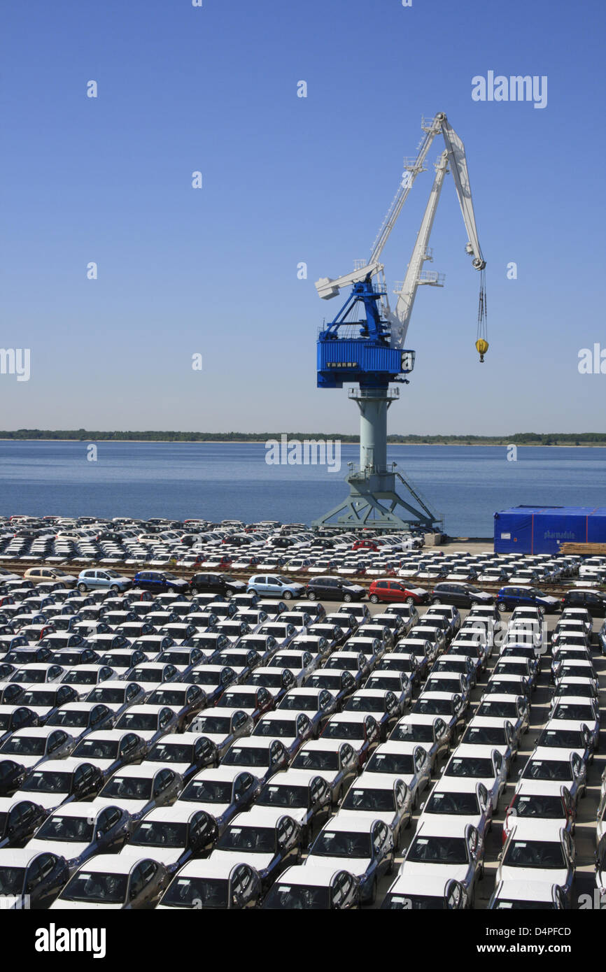 Imported new cars stand in the industrial harbour of Paldiski near Tallinn, Estonia, June 2009. Photo: Willy Matheisl Stock Photo