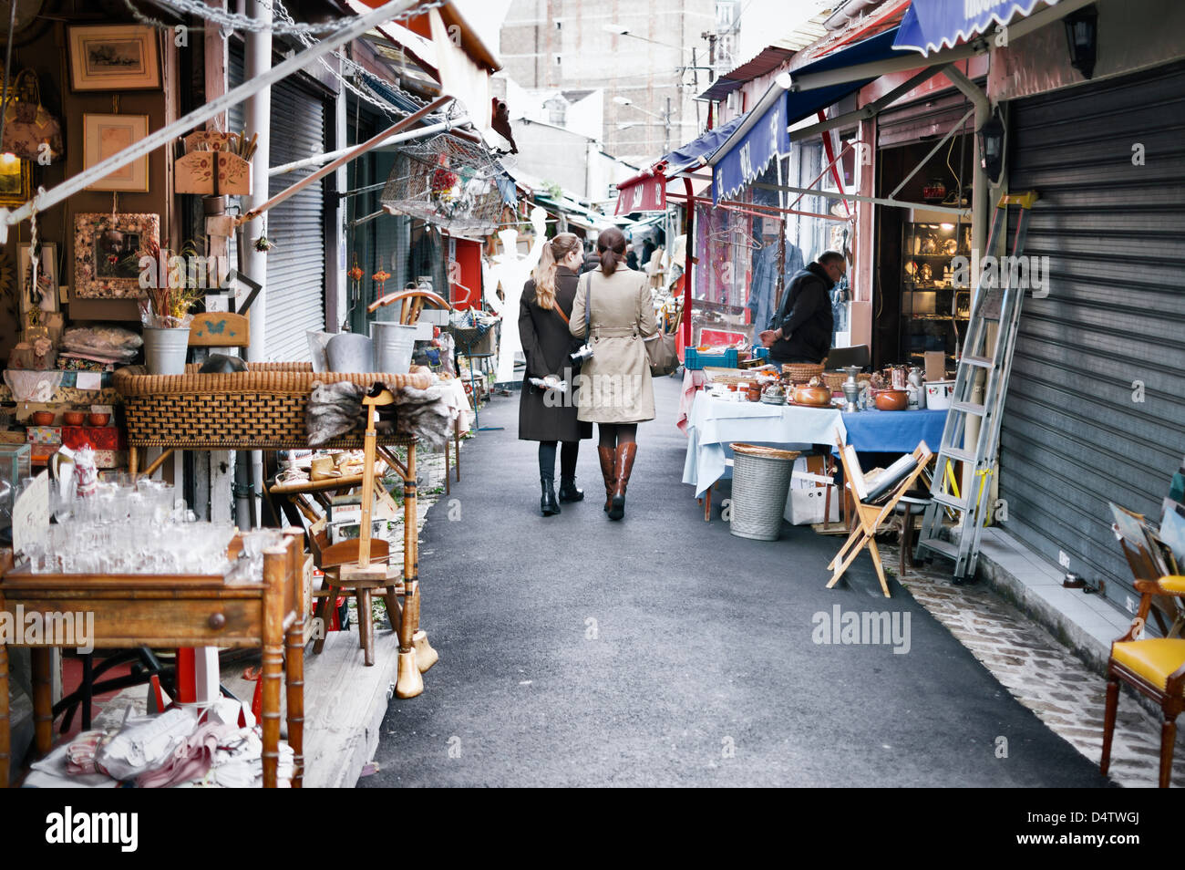 March aux puces flea market at st ouen near to clignancourt in the stock photo royalty free - Marche au puce paris vetement ...