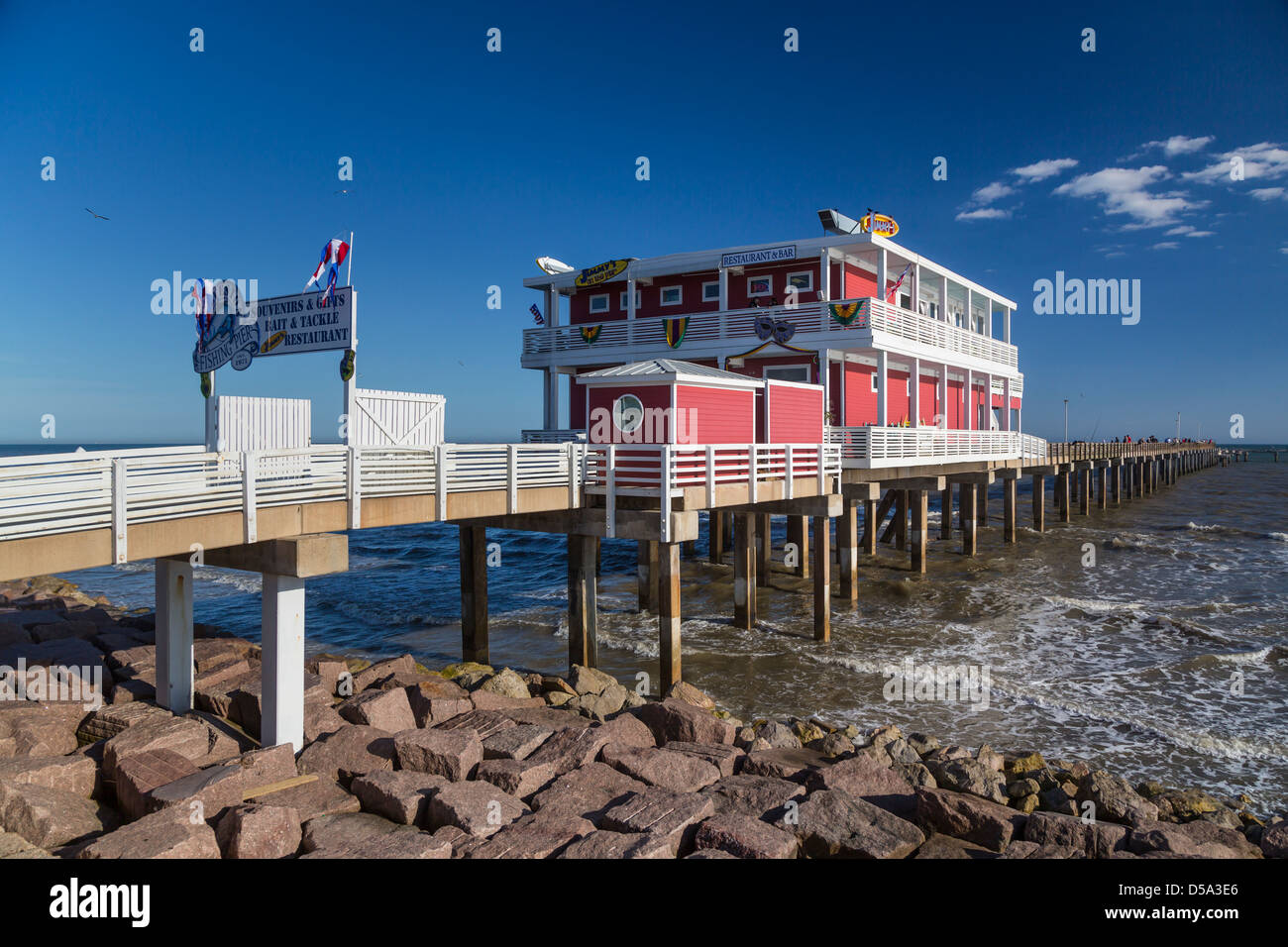 A restaurant and bar on the galveston fishing pier on the for Galveston fishing pier