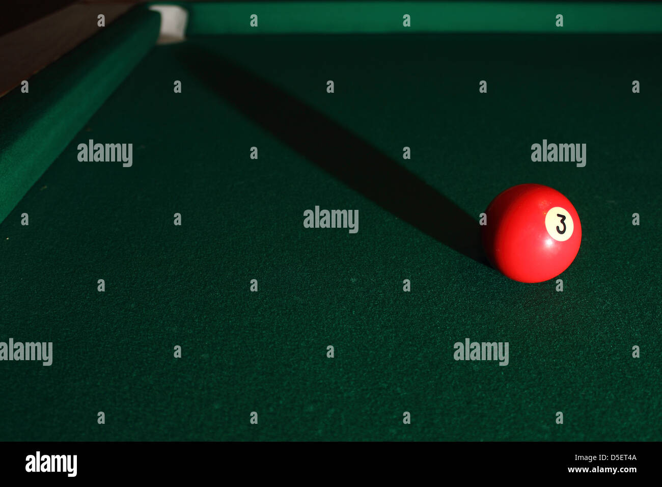 Billiards Pool Table With Balls Shadow And Light Stock