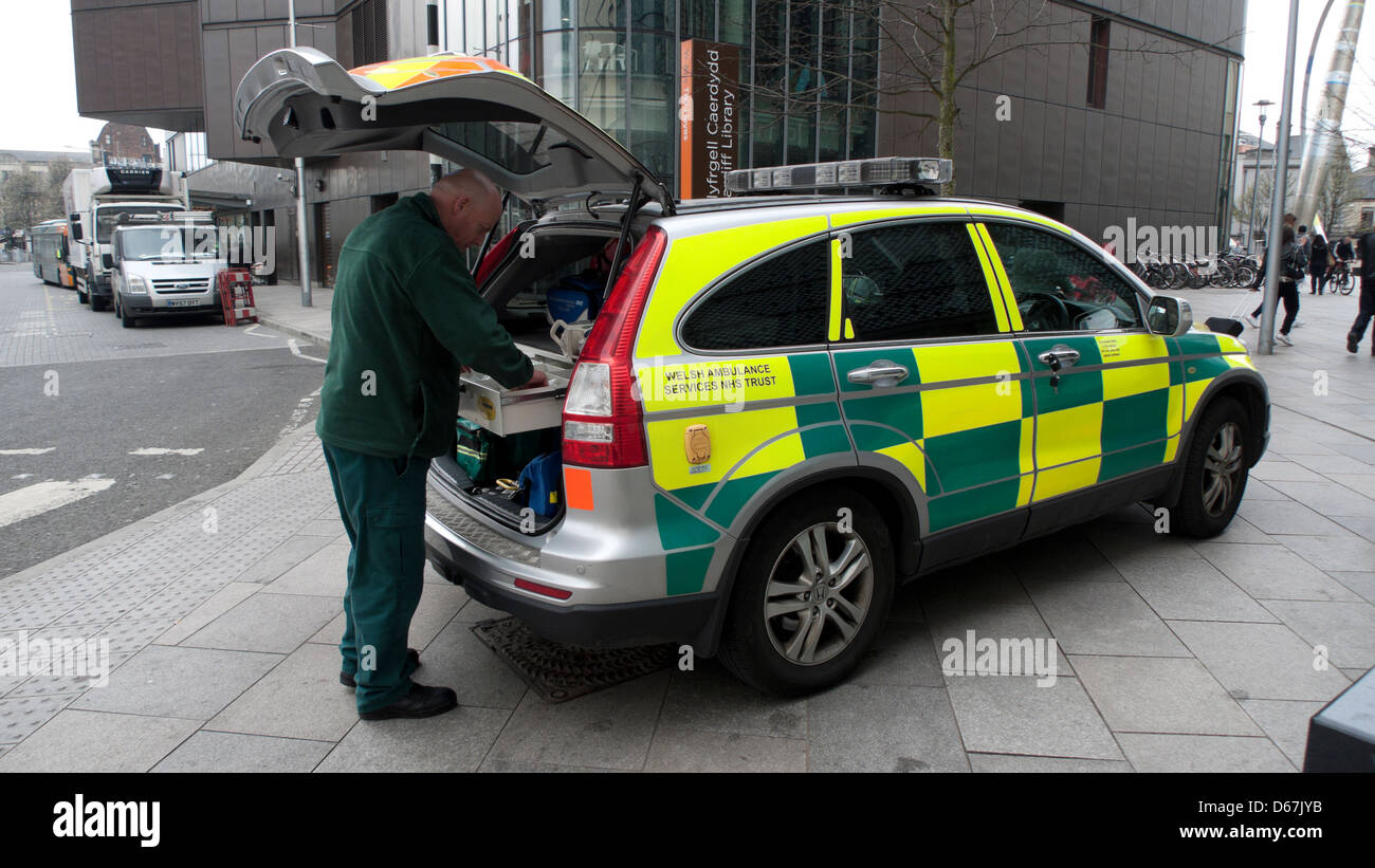 an nhs worker and a e paramedic car in cardiff city. Black Bedroom Furniture Sets. Home Design Ideas