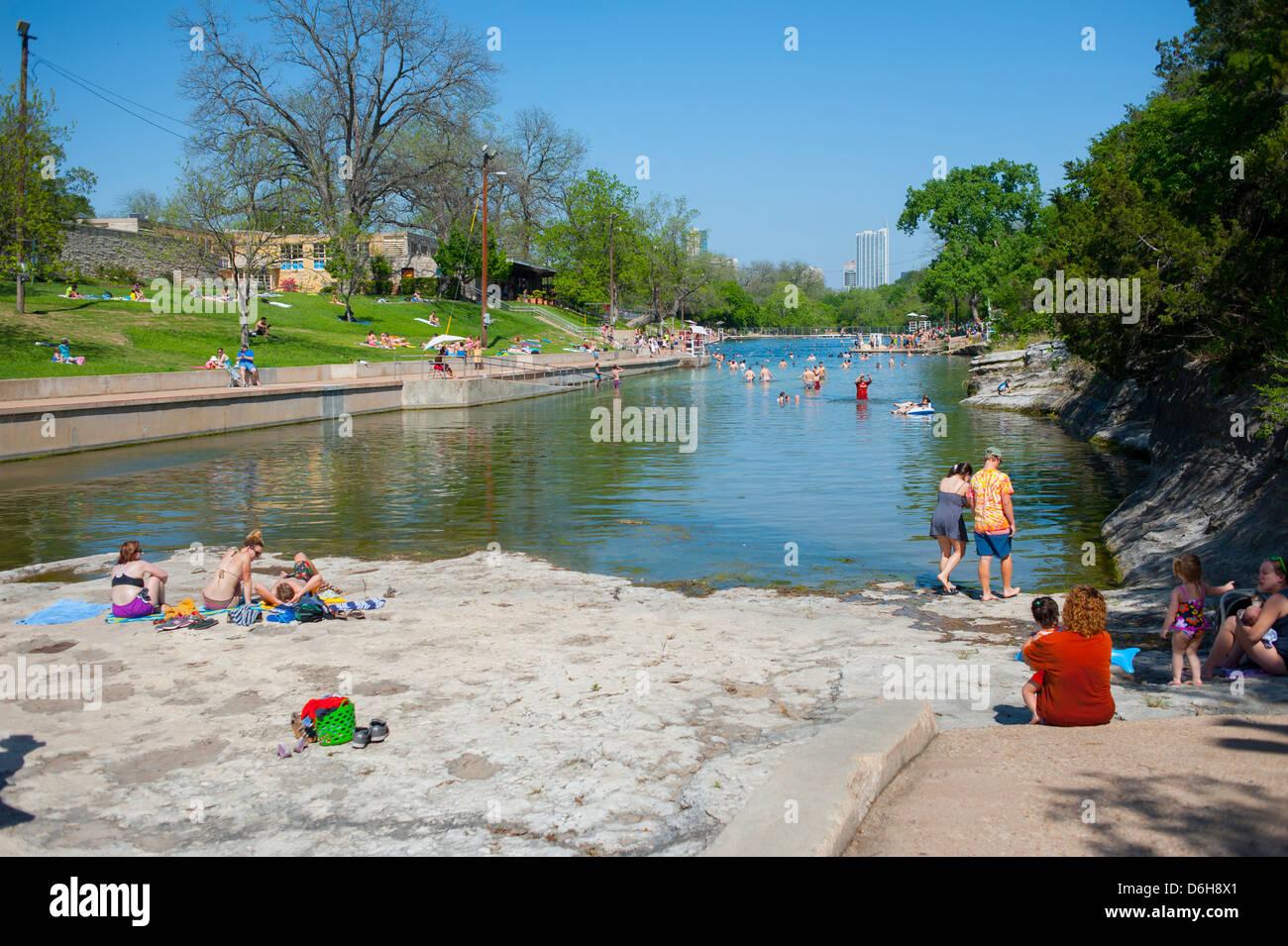 Usa Texas Tx Austin Barton Springs Pool In Zilker Park Natural Spring Stock Photo Royalty Free