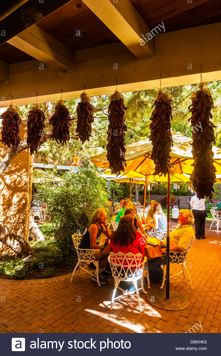 Diners Eating On An Outdoor Patio El Pinto Restaurant And