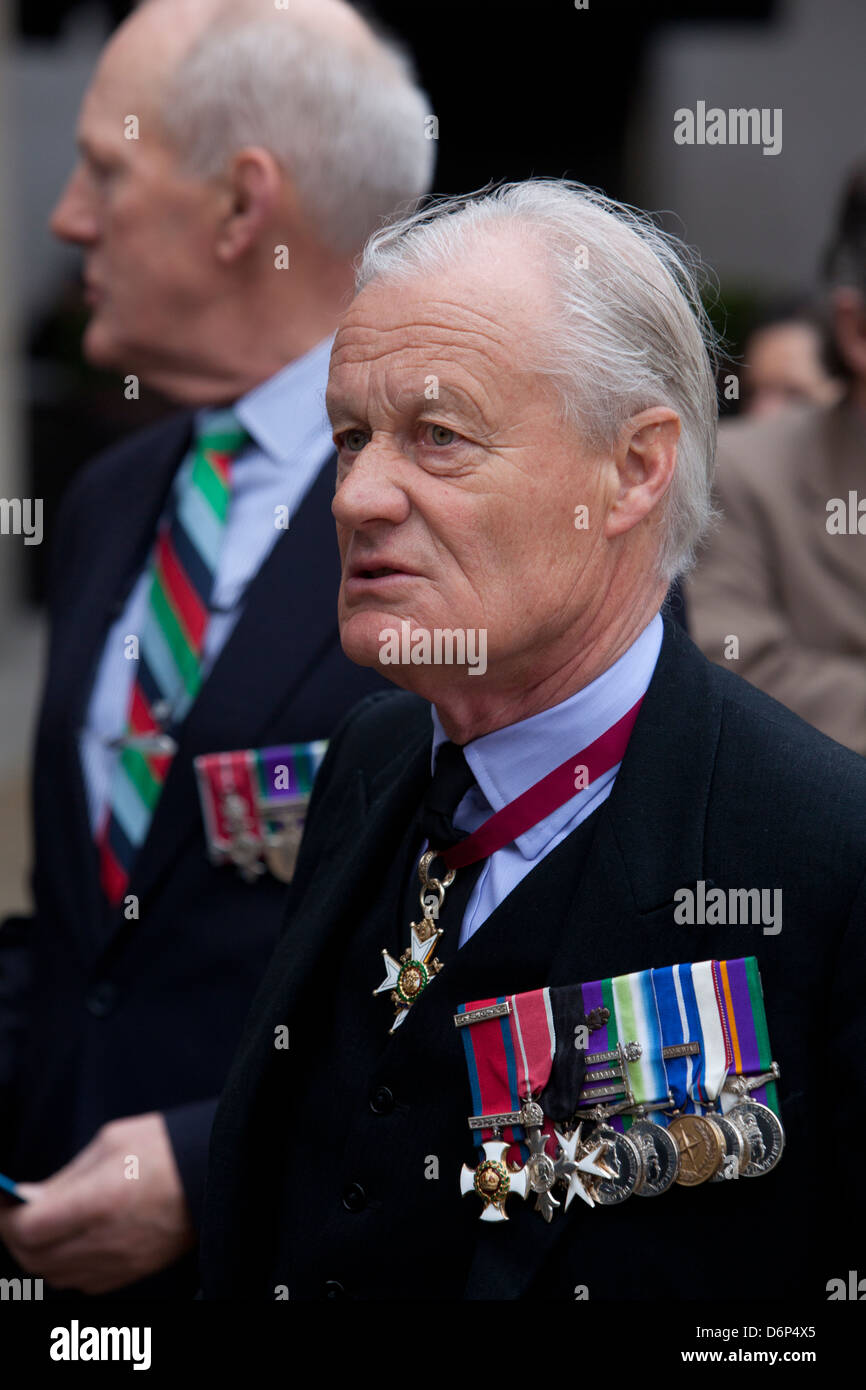 Sir Hew William Royston Pike with medals at the funeral of Margaret Thatcher in London Stock Photo