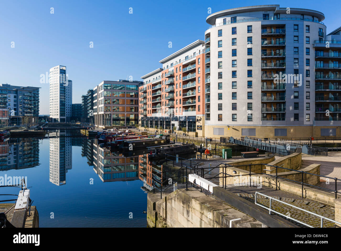 Waterfront Apartment blocks in Clarence Dock, Leeds, West ...