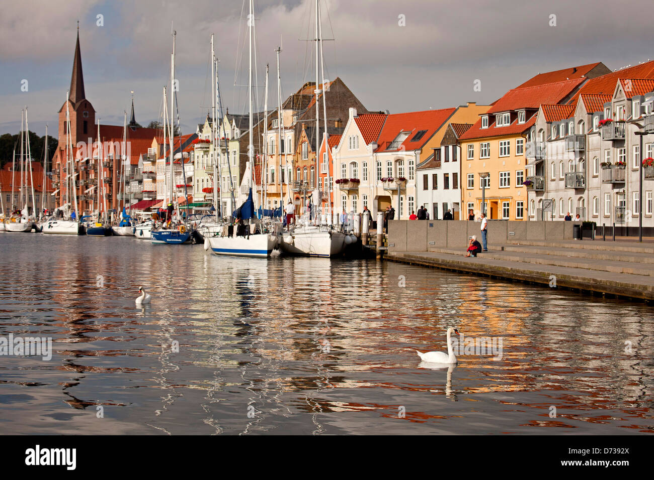 Waterfront and promenade in Sonderborg, Denmark, Europe Stock Photo, Royalty Free Image ...