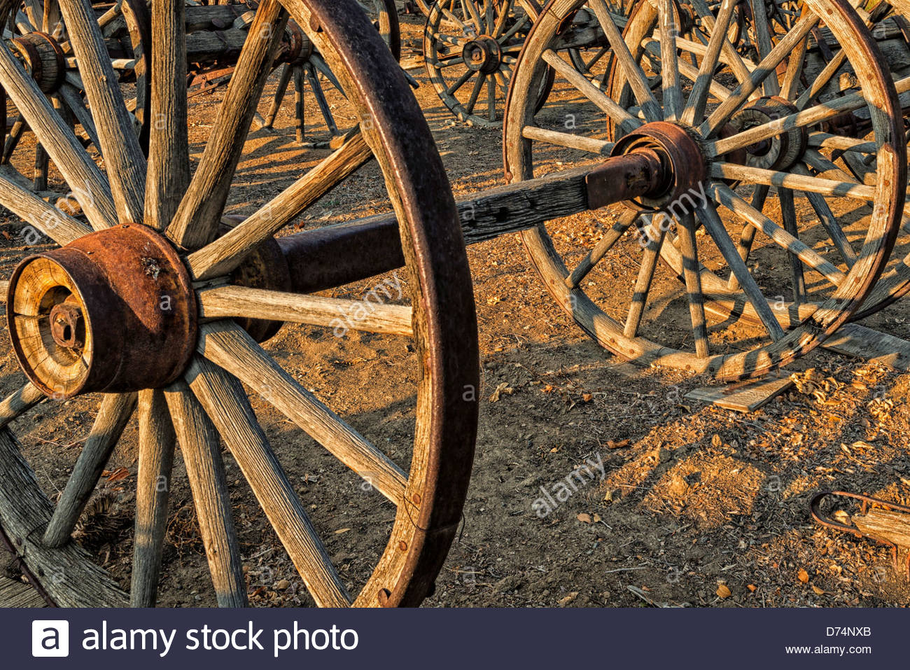 Pieces Of Old Wooden Wagons From Old West, Including