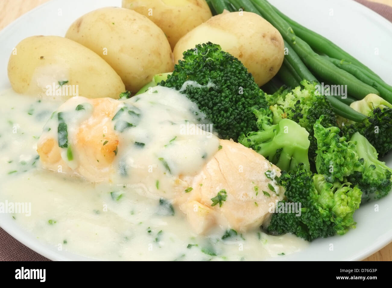 Grilled salmon fillet with new potatoes broccoli green for Fish and broccoli diet