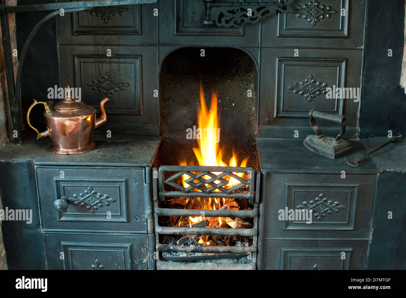 Cast Iron Range Fireplace In A Shropshire Cottage Uk Stock