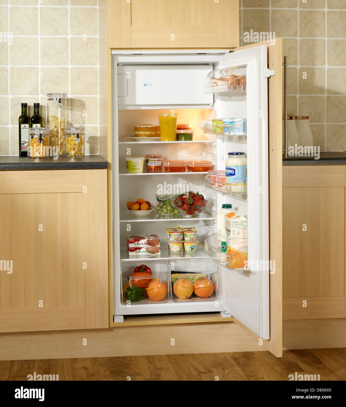 Chilled food in a built in fridge with small freezer in for Small built in kitchen