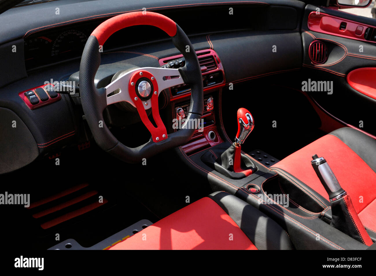 custom car red and black leather interior stock photo royalty free image 56626319 alamy. Black Bedroom Furniture Sets. Home Design Ideas