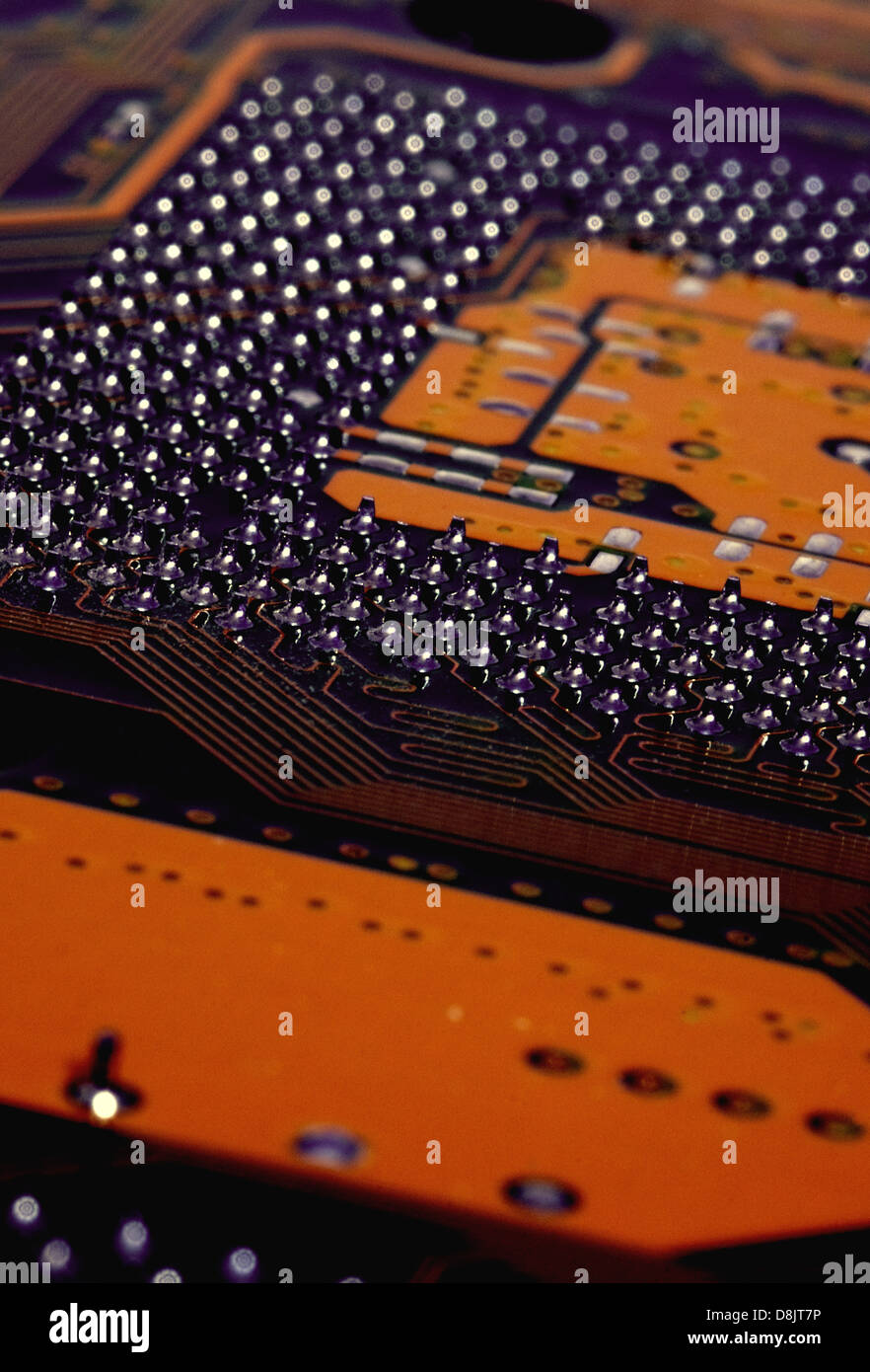Orange Populated Printed Circuit Board Pcb Showing The Conductive