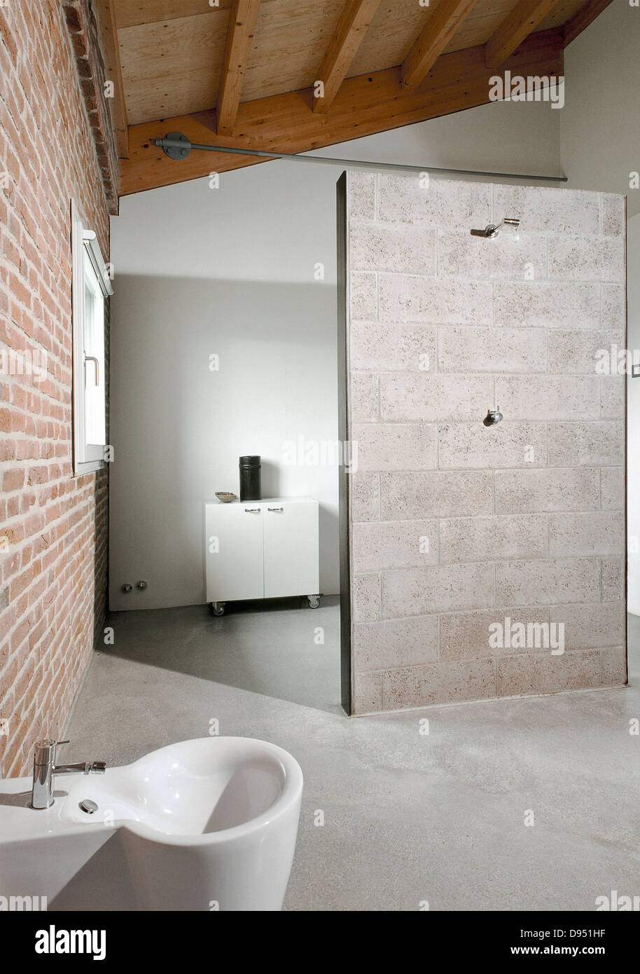 Detail of shower cubicle of modern bathroom in the attic for Detail in contemporary bathroom design