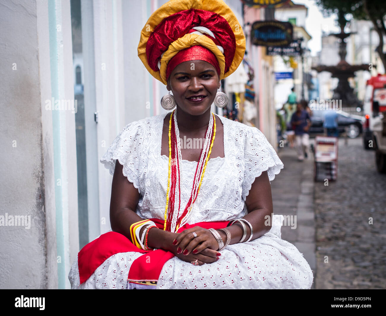Woman wearing traditional clothes from the Bahia region of ...