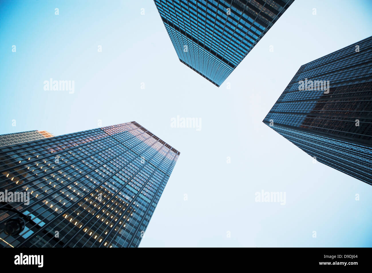 View of three skyscrapers from below Stock Photo