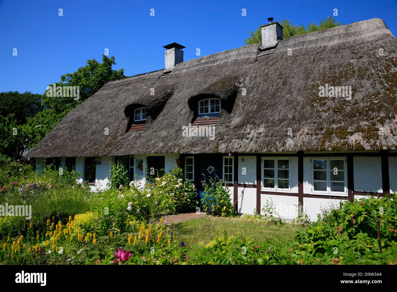 old thatched house in strande kiel bay schleswig holstein germany stock photo royalty free. Black Bedroom Furniture Sets. Home Design Ideas