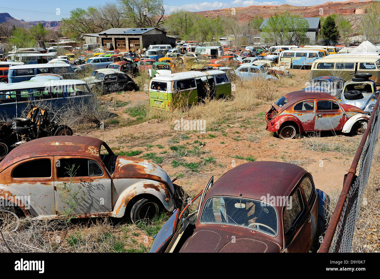 Scrap Yard Full Of Volkswagen Cars And Vans Near Moab